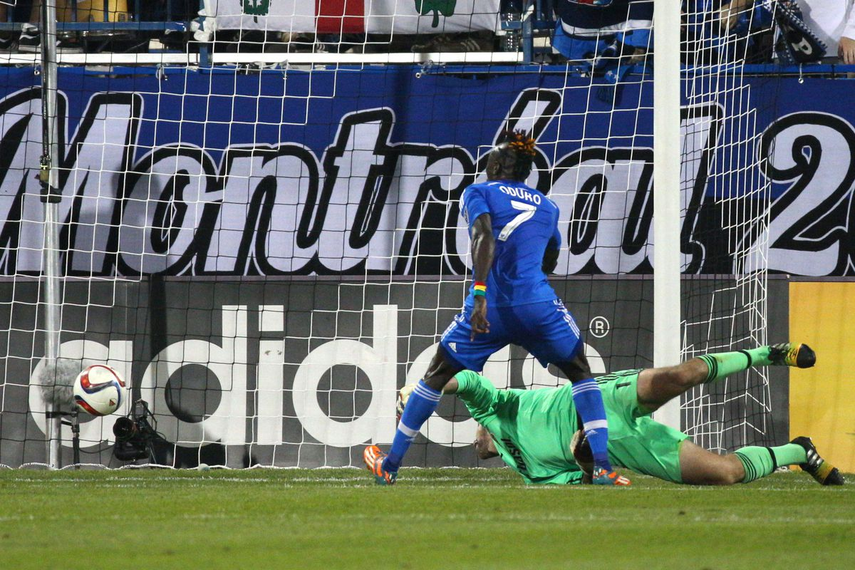 Oduro pokes home the third goal of the game in IMFC's 3-0 win over the Crew.