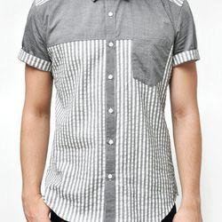 "The Short Sleeve Base Shirt in grey/white, <a href=""http://shop.alterbrooklyn.com/ALTM103.html"">$155</a>"