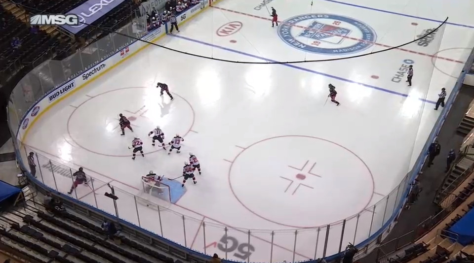 April 15: The Devils were caught with 5 men down low to take care of...no one. This meant Jacob Trouba had acres of space to unload a hard shot. The Devils allowed multiple shots like this to Trouba on April 13. But this one went in.