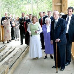 President Gordon B. Hinckley saw a demonstration of how the sawmill operates when he went to Kirtland to dedicate the historic village.