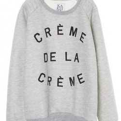 "<b>Zoe Karssen</b> Creme De La Creme Sweatshirt, <a href=""http://www.zoekarssenshop.com/sweaters/creme-de-la-creme-3575.html#page=page-1"">$127.78</a>"