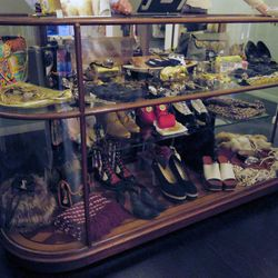 This 1930s display cabinet is stocked with throwback treasures, including fierce statement necklaces, Pierre Cardin leopard-print disco platforms and much more. We're not surprised the husband-and-wife duo were once vintage furniture dealers, too.