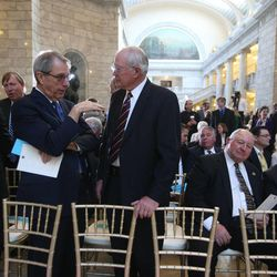 Former Speakers of the House Nolan Karras, left, Glen Brown, Mel Brown and Bob Garff speak before the public memorial service for former Speaker of the House Rebecca Lockhart in the Capitol rotunda in Salt Lake City on Thursday, Jan. 22, 2015.  Lockhart died at her home in Provo on Jan. 17, 2015, from a rare brain disease.