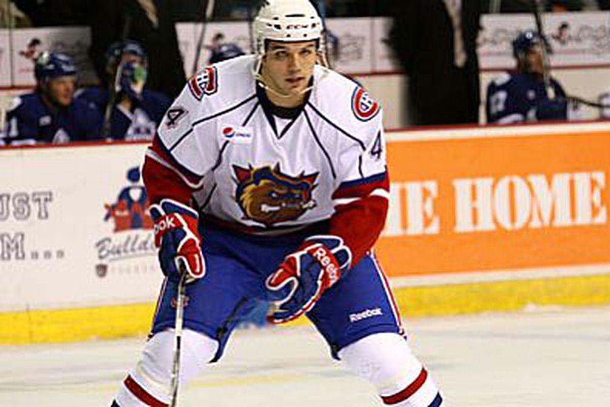 <em>Jimmy Bonneau in action for the Hamilton Bulldogs during the 2010-11 AHL season.  Photo courtesy of www.sharksahl.com</em>