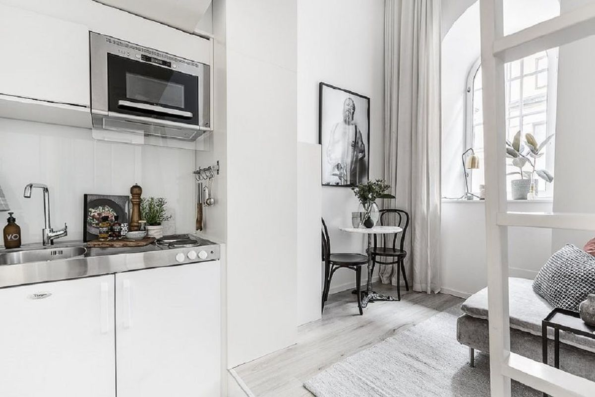 Small living is taken to a stylish extreme in 100 square for 100 square meters to square feet