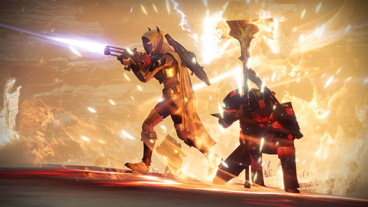 A Guardian wields Lord Saladin's flaming ax as a comrade protects him.