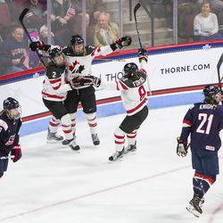 Team Canada celebrates a goal against the United States in their matchup in Boston during The Time Is Now tour on Oct 25th, 2017