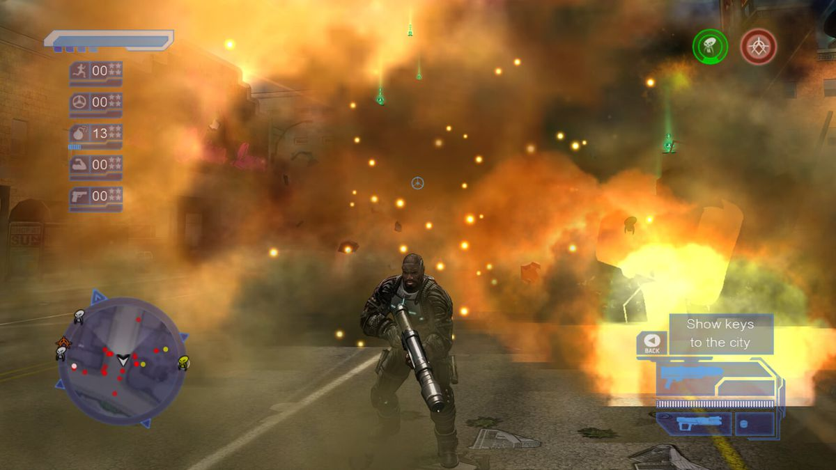 An explosion in Crackdown, running on the Xbox Series X.