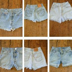 """When it comes to cut-offs, the older, the better. <a href=""""http://www.bulkvintage.com/product/wholesale-levis-501-cutoffs-women.html"""">Vintage Levi's 501 shorts</a>, $15 from Bulk Vintage."""