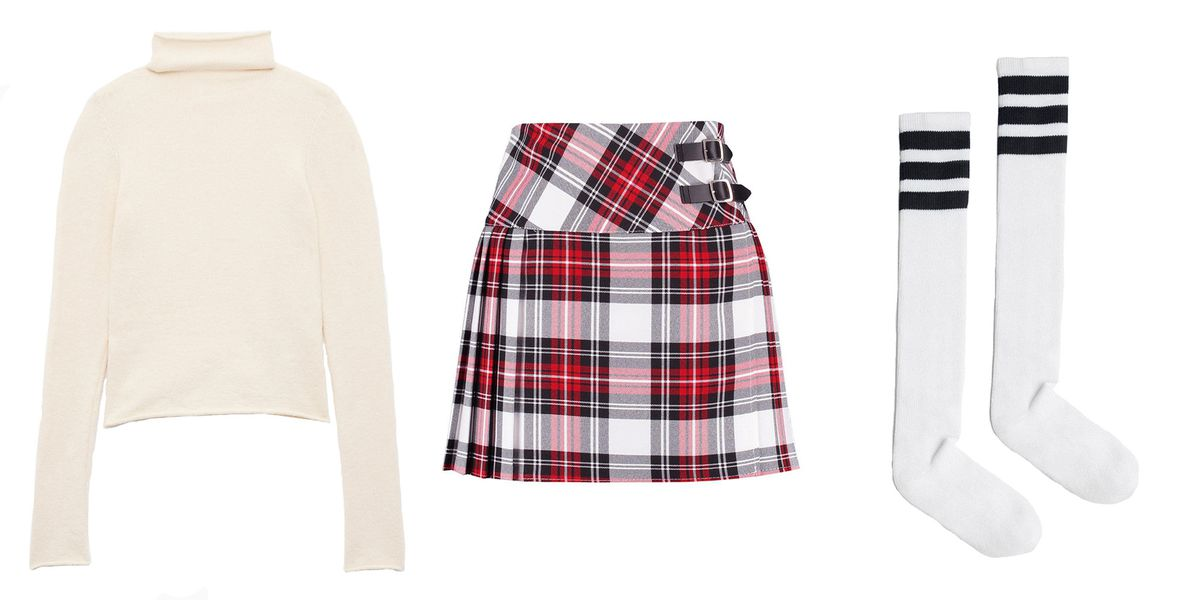 A cream colored turtleneck, a plaid mini skirt, and striped to-the-knee tube socks