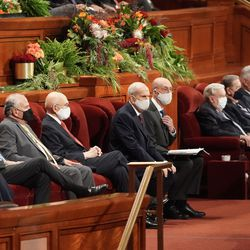 General authorities of The Church of Jesus Christ of Latter-day Saints are seated during the 191st Semiannual General Conference at the Conference Center in Salt Lake City on Saturday, Oct. 2, 2021.