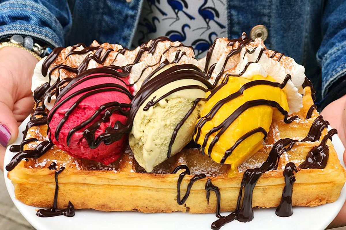A gelato-topped waffle from Amorino