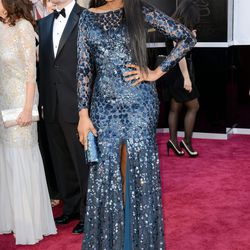 Jennifer Hudson chose shimmery Roberto Cavalli.