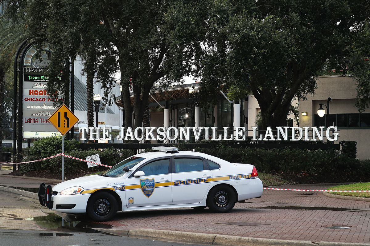A Jacksonville Sheriff officer at the site of the mass shooting in Jacksonville, Florida, on August 26, 2018.