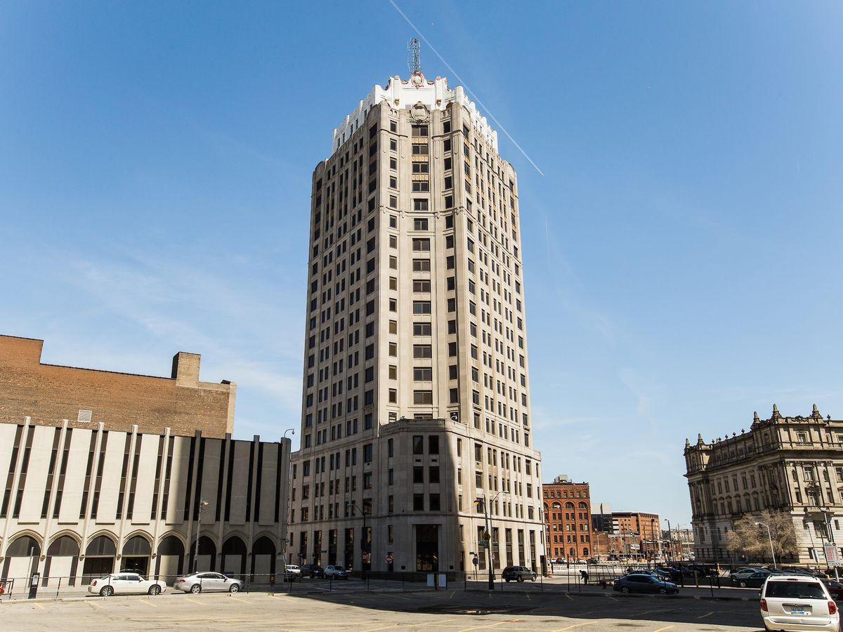 The exterior of the Water Board building in Detroit. The facade is tan with multiple windows.