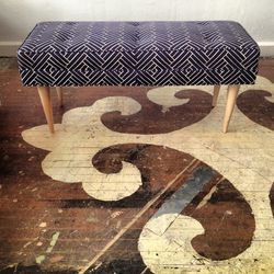 """Custom creenprinted upholstered bench, $925 from Ardmore's <a href=""""http://www.chairloom.com/"""">Chairloom</a>"""