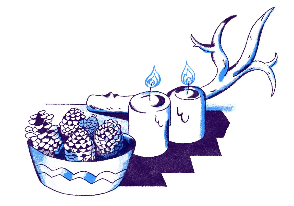A still life of an antler, two lit tea candles, and a decorative bowl of pinecones. Illustration.