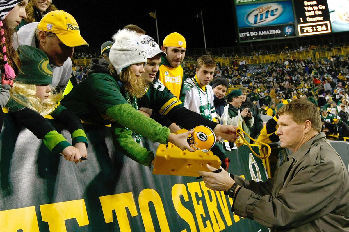 GREEN BAY, WI - NOVEMBER 14: Mark Murphy, President of the Green Bay Packers, signs autographs for fans prior to the game against the Minnesota Vikings at Lambeau Field on November 14, 2011 in Green Bay, Wisconsin. (Photo by Scott Boehm/Getty Images)