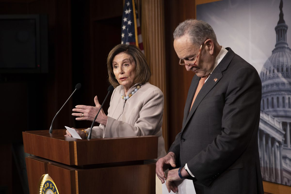 Speaker Pelosi And Sen. Schumer Hold Press Conference To Discuss President Trump's 2021 Budget Request