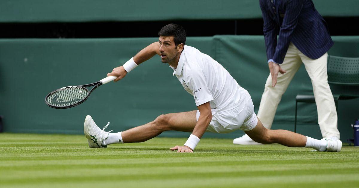 Novak Djokovic wins on slippery Wimbledon court