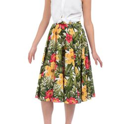 """<strong>Maggy Frances</strong> Kelly Sleeveless Shirt in White, <a href=""""http://www.maggyfrances.com/top-level/new-arrivals/kelly-shirt-1642.html"""">$150;</a> Sophia Skirt in Honolulu Floral, <a href=""""http://www.maggyfrances.com/top-level/new-arrivals/sophi"""