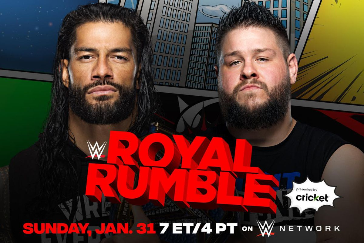 Match graphic for Kevin Owens vs. Roman Reigns at Royal Rumble 2021