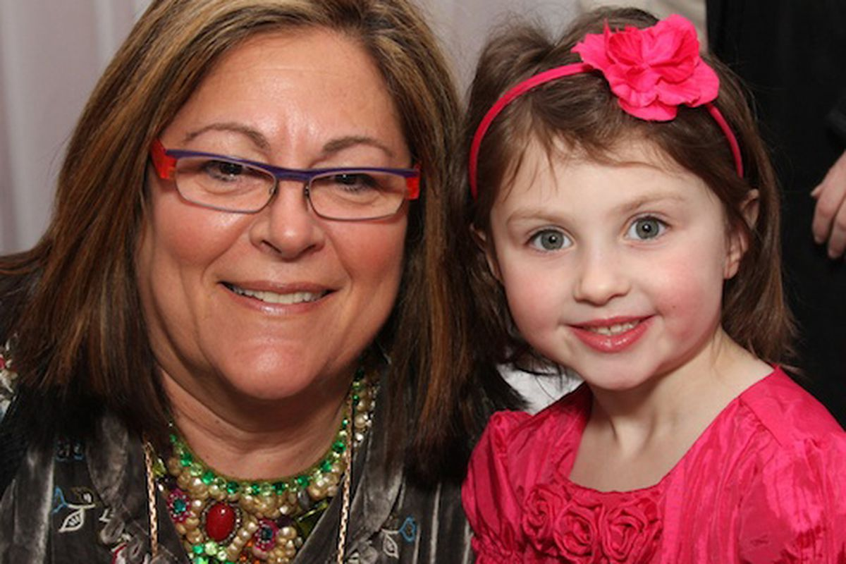 """Mallis poses during a <a href=""""http://racked.com/archives/2010/02/13/katie-the-blogging-wunderkind-meets-the-queen-of-fashion-week.php"""">hard-hitting interview</a> with Katie the Child Blogger"""