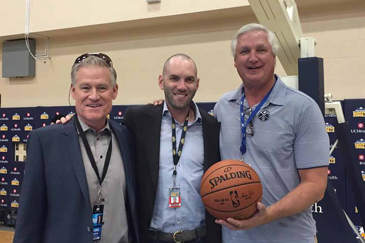 Scott Hastings shares a happy moment with his fellow broadcaster Chris Marlowe and Denver Stiffs co-founder Andrew Feinstein