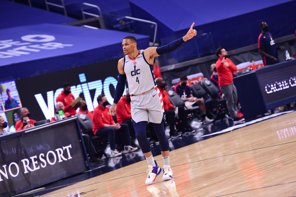 Russell Westbrook of the Washington Wizards reacts to a play during the game against the Golden State Warriors on April 9, 2021 at Chase Center in San Francisco, California.