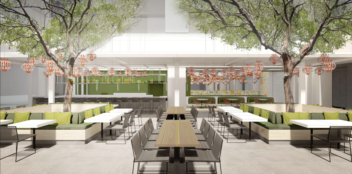 Rendering of the new Audrey restaurant at the Hammer Museum