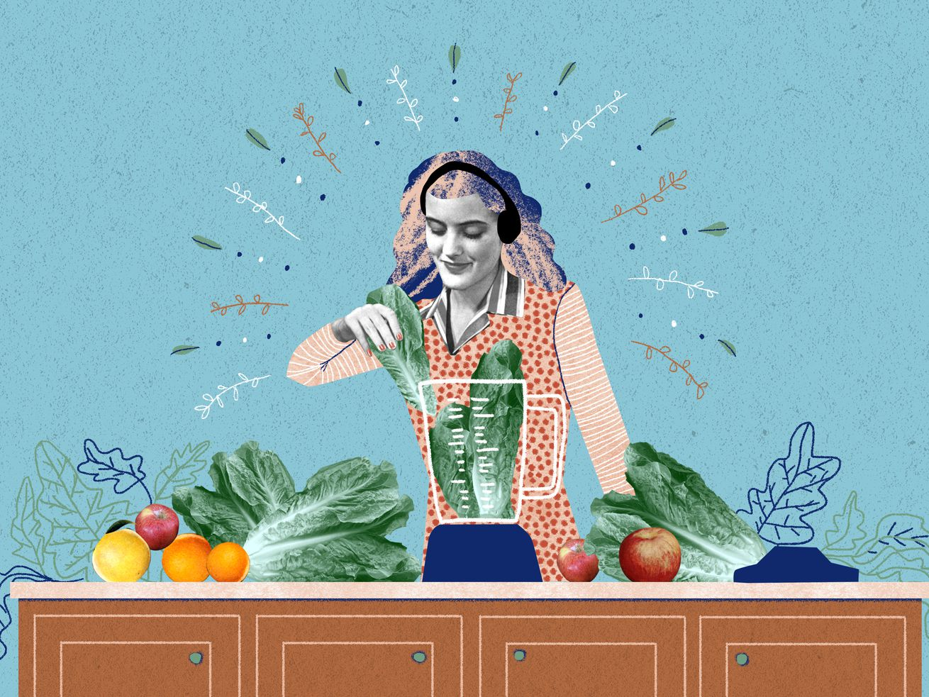 A woman standing at a kitchen island. She's surrounded by fresh produce and is happily placing vegetables in a still blender while listening to music on headphones. Illustration.