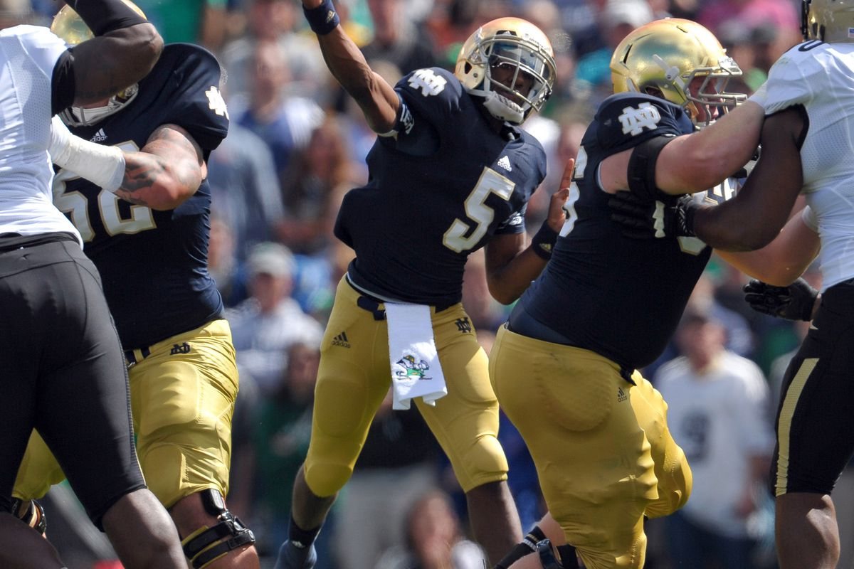 Sep 8, 2012; South Bend, IN, USA; Notre Dame Fighting Irish quarterback Everett Golson (5) throws the ball in the first quarter against the Purdue Boilermakers at Notre Dame Stadium. Mandatory Credit: Matt Cashore-US PRESSWIRE