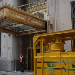 """A large-scale dehumidifier, used to dry out the basement at 90 Broad, where Demi Monde used to be. [<a href=""""http://www.thirteen.org/metrofocus/2012/11/man-and-machine-in-lower-manhattan-recovery/"""">Photo</a>]"""
