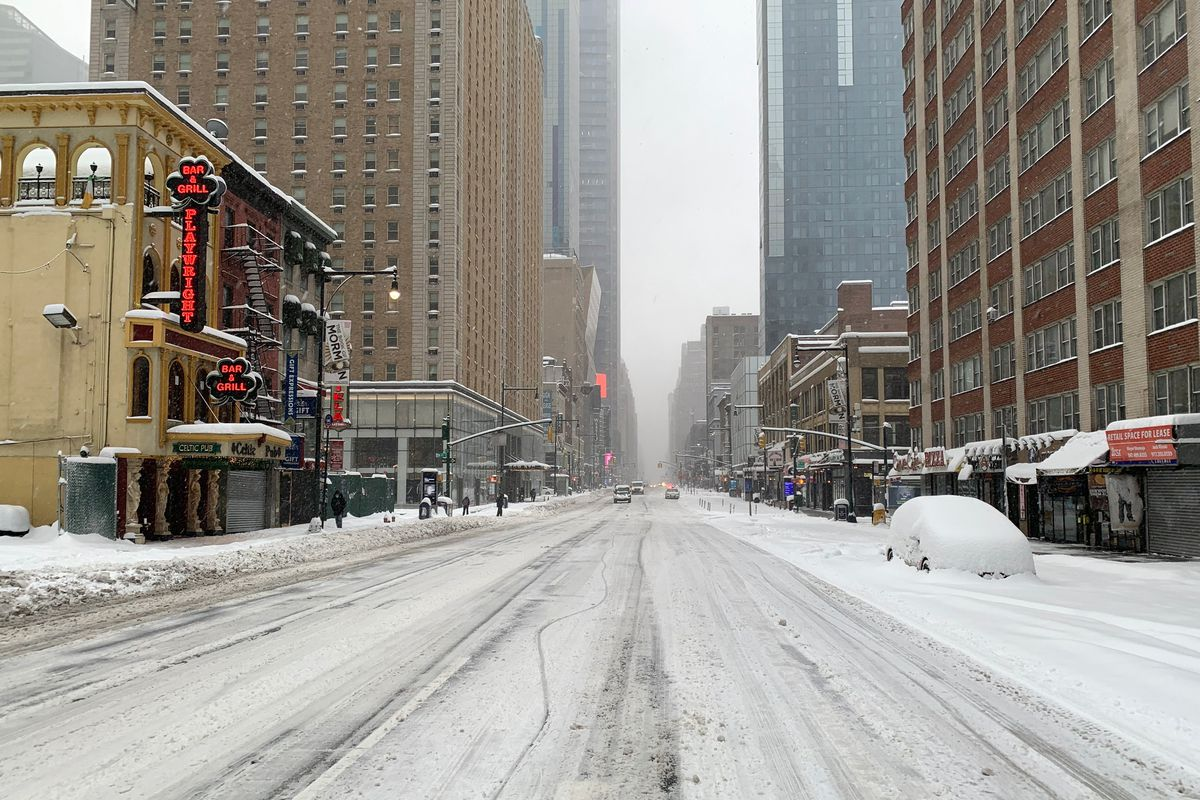 There was barely any traffic creeping along Eight Avenue in Manhattan while a major nor'easter walloped the city, Feb. 1, 2021.