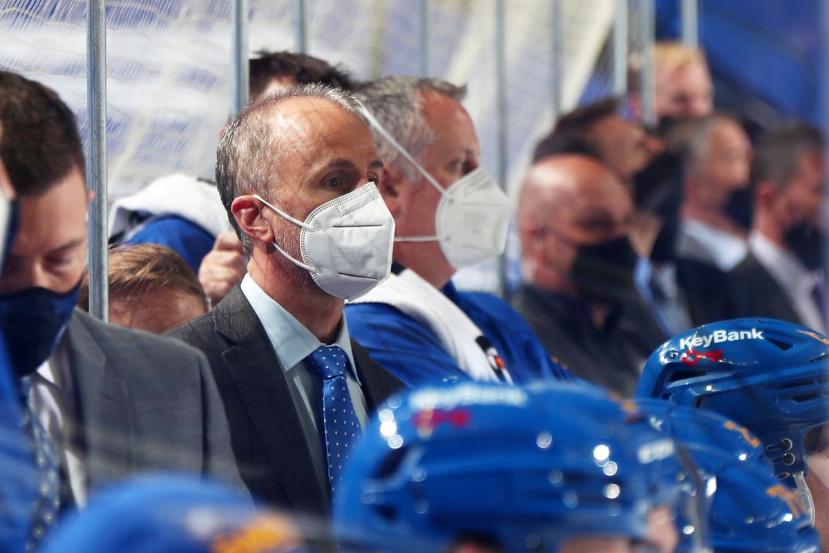 Interim head coach Don Granato watches from the bench during an NHL game against the Boston Bruins on April 23, 2021 at KeyBank Center in Buffalo, New York.