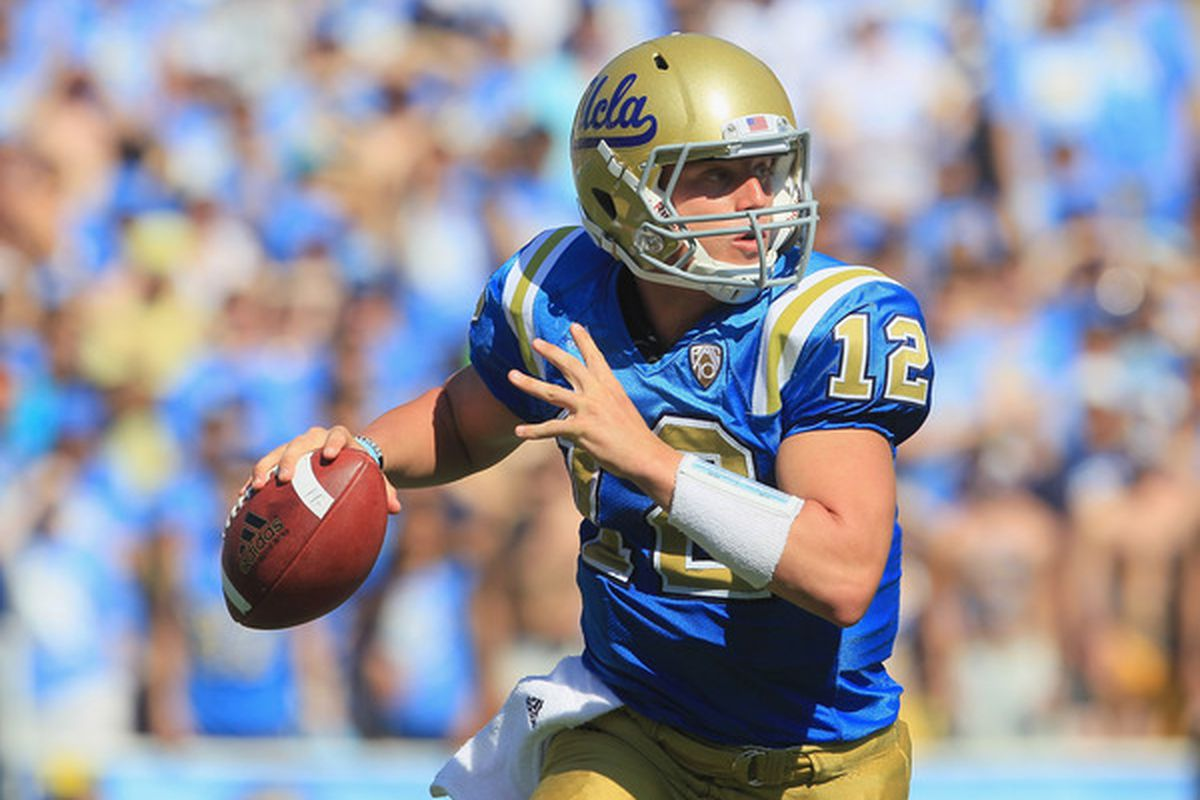 I miss these unis.  The quarterback-iest picture I could find.  Will it be Brehaut time this fall?  (Photo by Jeff Gross/Getty Images)