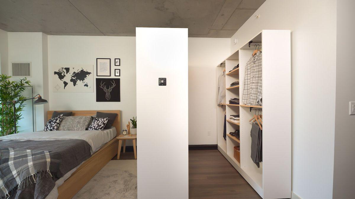 Closet with hanging shirts