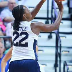 Ashley Battle puts up a shot from the corner.