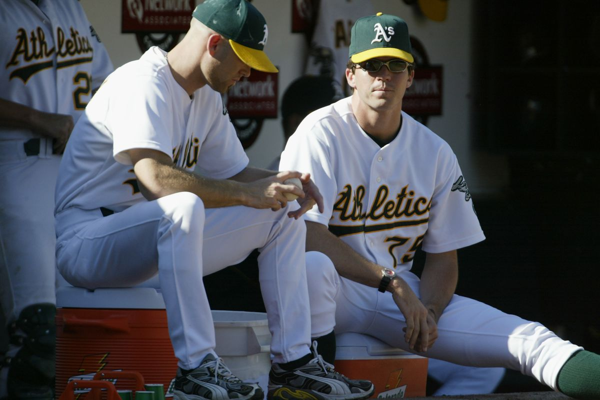 Hudson and Zito in the dugout