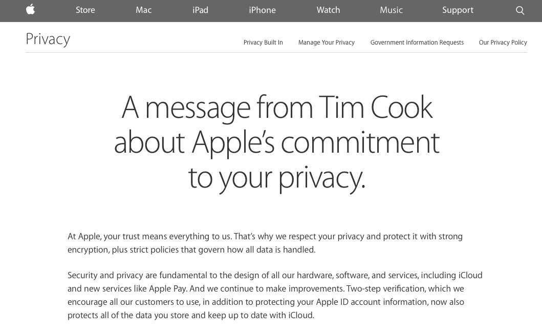 Apple has a privacy page with a pledge from CEO Tim Cook.