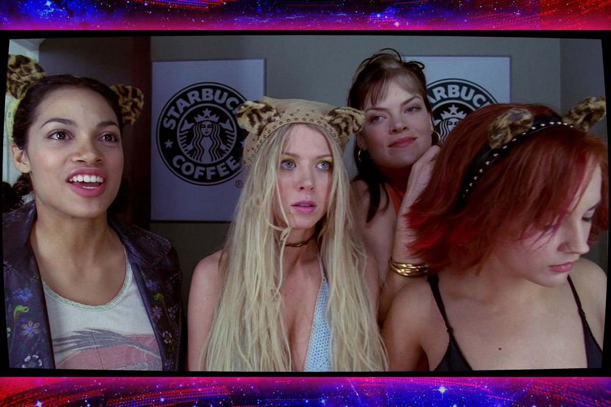 Image of the four women from the Josie and the Pussycats movie on a vibrant background