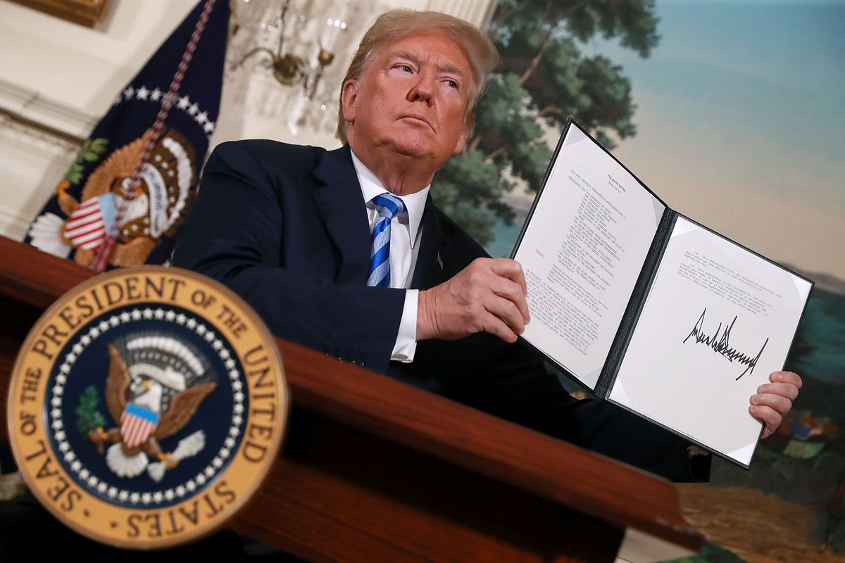 President Donald Trump withdraws the United States from the 2015 Iran nuclear deal on May 8, 2018, in Washington, DC.