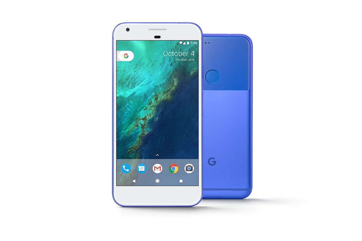 A blue Google Pixel smartphone on a white background.