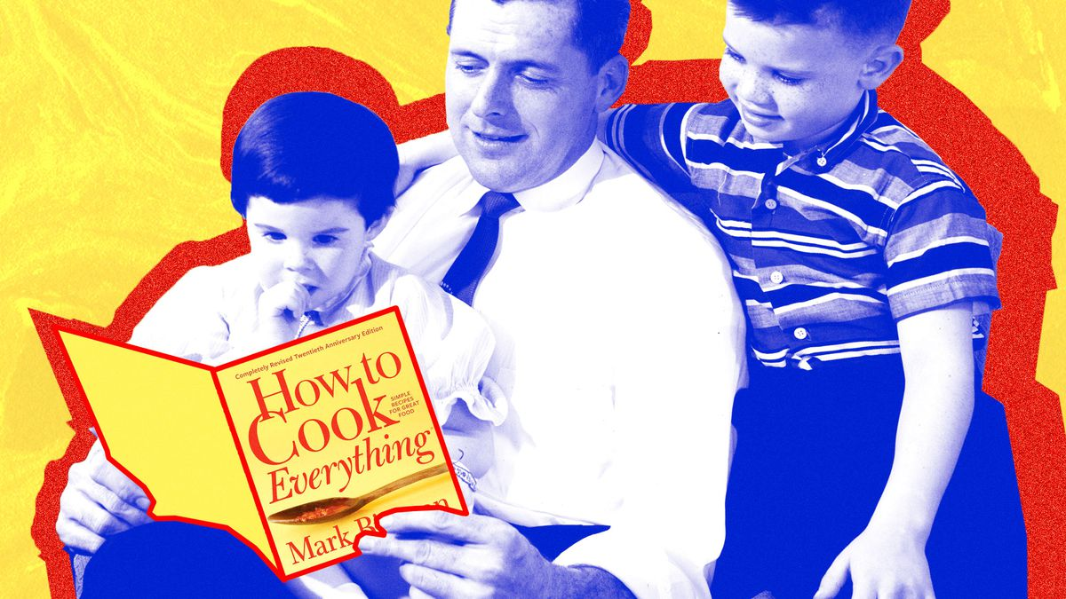 """Man reads """"How to Cook Everything"""" to two children."""