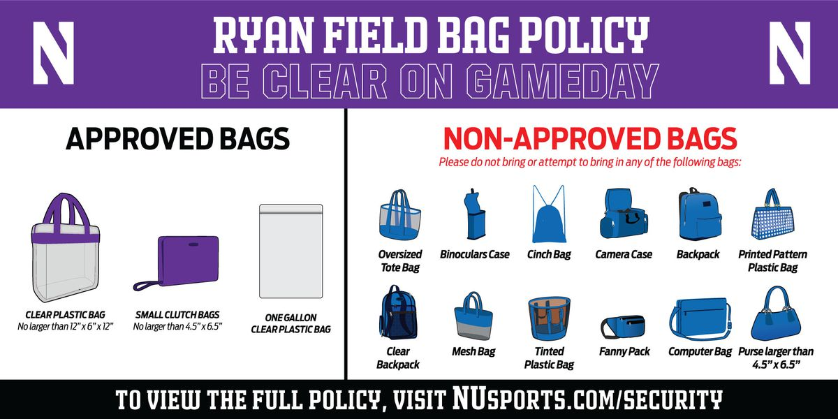 Here are the bag restriction for Northwestern football games. | Courtesy of NU Athletics