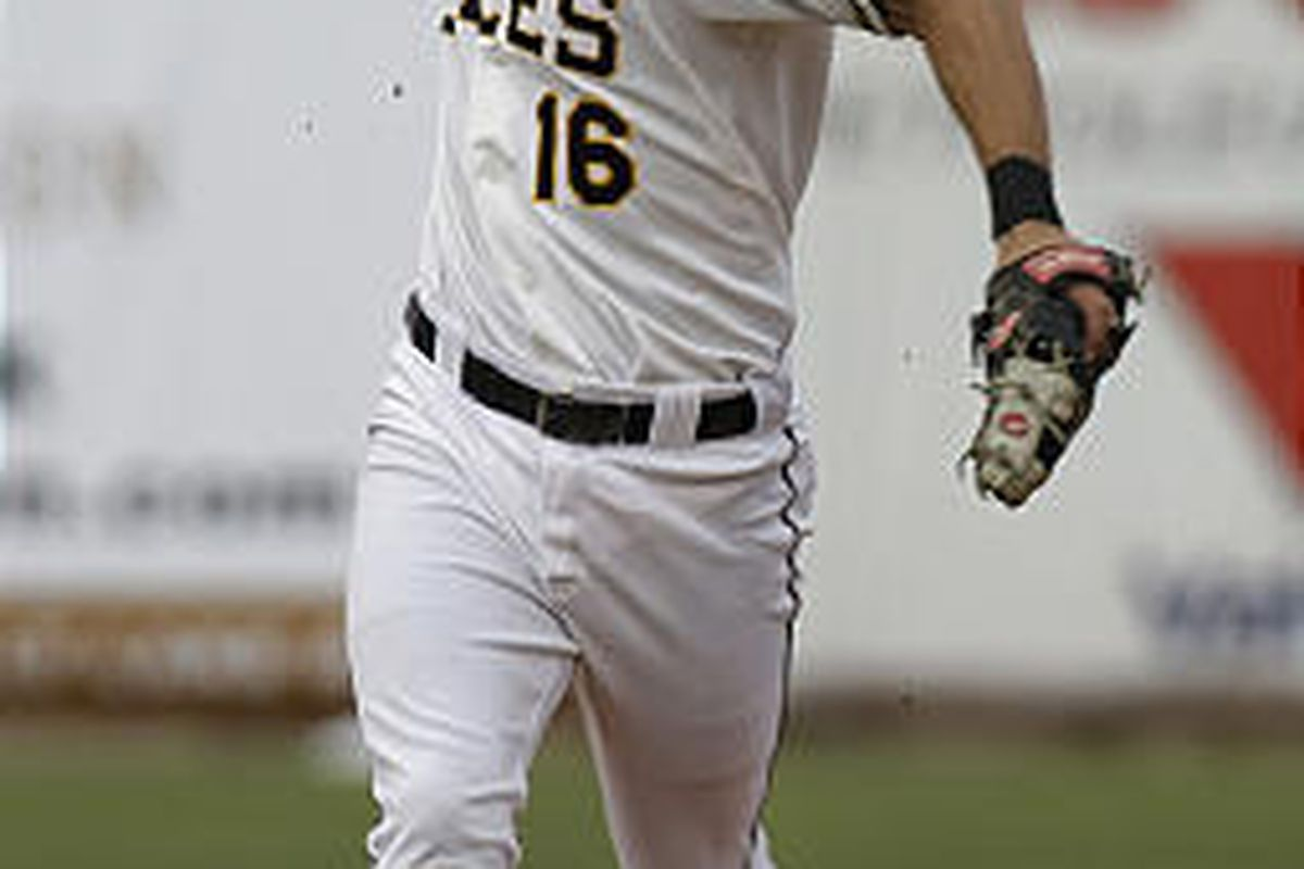 Salt Lake's Gary Patchett throws to first base during loss to Memphis Wednesday night at Spring Mobile Ballpark.