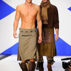 A couple models mix it up in low-rider kilts.