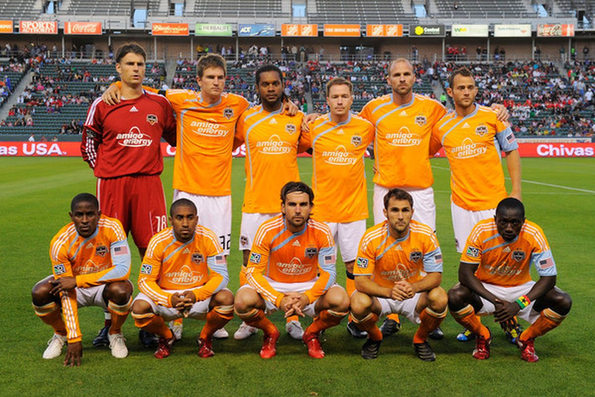 CARSON, CA - MAY 08: Houston Dynamo soccer team poses for a team photo prior to the start of the MLS soccer game against Chivas USA on May 8, 2010 at the Home Depot Center in Carson, California.  (Photo by Kevork Djansezian/Getty Images)