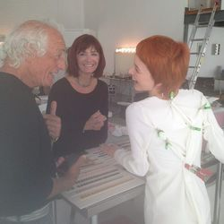 Mario Tricoci had a quick powwow with nail director Amber Edwards and his flame-haired model model