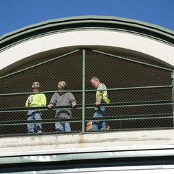 12:44 p.m. Workers on their lunch break -
